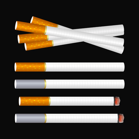 Several cigarettes on the black background