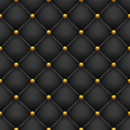 Illustration for Upholstery with golden buttons. Seamless black background. - Royalty Free Image
