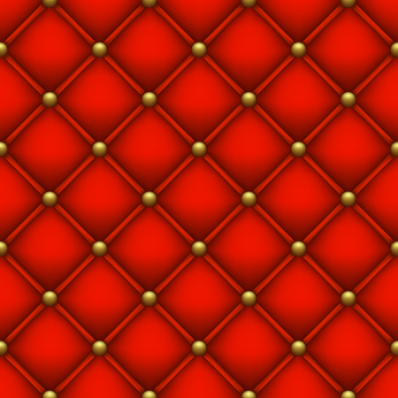 Illustration pour Upholstery with golden buttons. Seamless red background. - image libre de droit