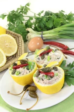 stuffed lemons with tuna cream and capers