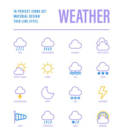 Illustration for Weather thin line icons set: rain, overcast, partly cloudy, fog, snow, thunderstorm, hail, sleet, rainbow. Vector illustration for mobile app or widget. - Royalty Free Image