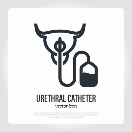Illustration pour Urethral catheter inserted in urethra. Thin line icon. Medical equipment for catheterization. Vector illustration. - image libre de droit