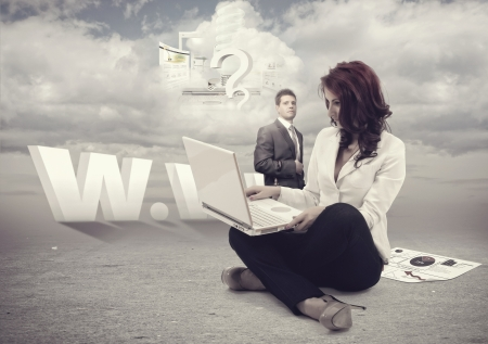 Man and businesswomen outside working with cloud computing.All elements can be found in my portfolio