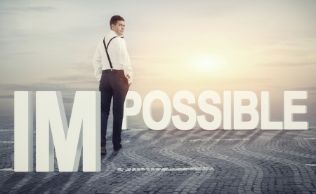 Concept illustrating a man walking toward opportuneness