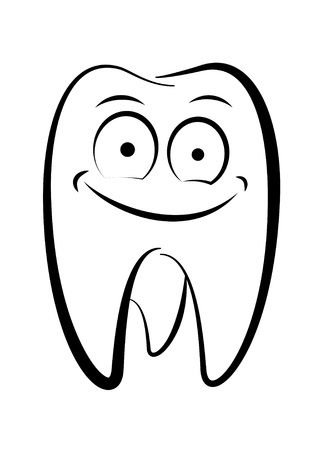 Dental character drawing on a white background