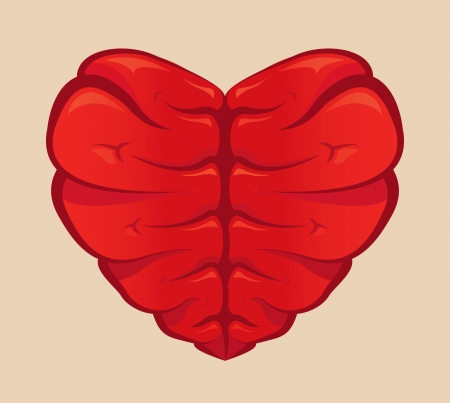 Heart shaped brain drawing on a colored background