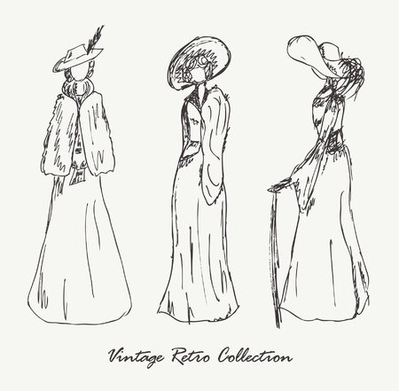 Set with sketches of women in retro clothes  Ladies in vintage dresses  Hand drawn collection of modern women silhouette for magazines, books, carts