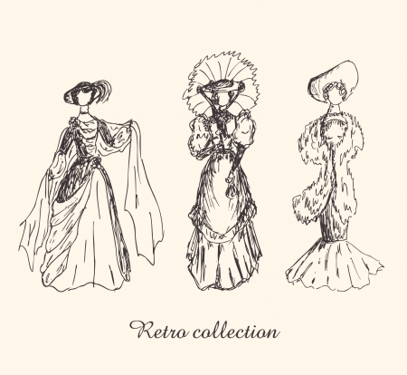 Set with sketches of women in retro clothes. Ladies in vintage dresses. Hand drawn collection of modern women silhouettes