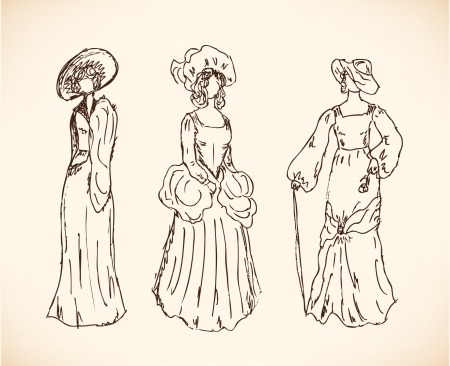Set with women sketches in retro clothes  Ladies in vintage dresses  Drawn collection of modern women silhouettes