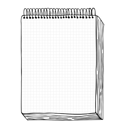 Illustration pour Sketch of notebook illustration with hand drawn leaf of notebook  Clip art  Notepad with clear page - image libre de droit