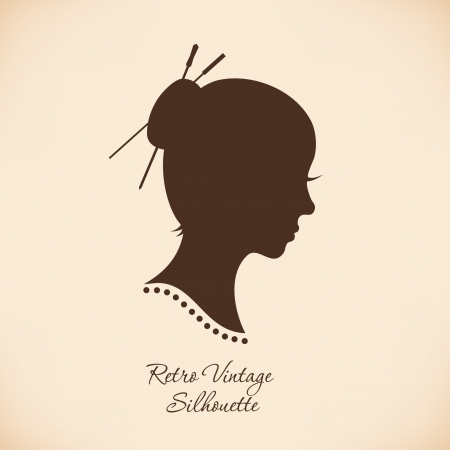 Vintage woman head silhouette. Vector Isolated woman half face. Retro image of girl portrait. Contour image of lady head