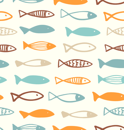 Illustration pour Decorative cute drawing pattern with funny fish. Seamless marine background. Vector fabric texture - image libre de droit