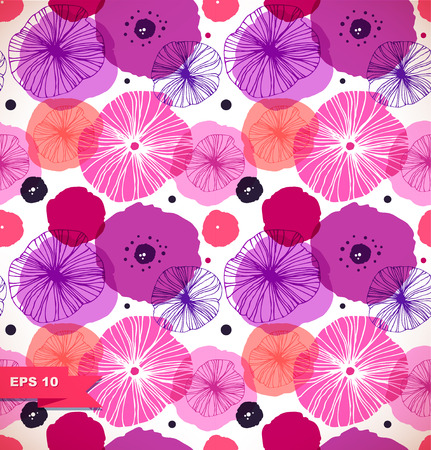 Illustration pour Seamless decorative pattern with poppies. Vector stylish poppy. Rose floral texture, nature background - image libre de droit