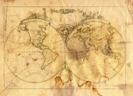 Photo pour Vintage map of the world in grunge style - image libre de droit