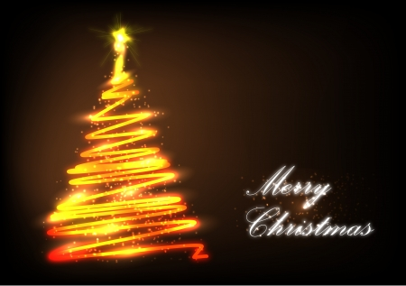 Stylized Christmas tree with lights and decorations on a dark background