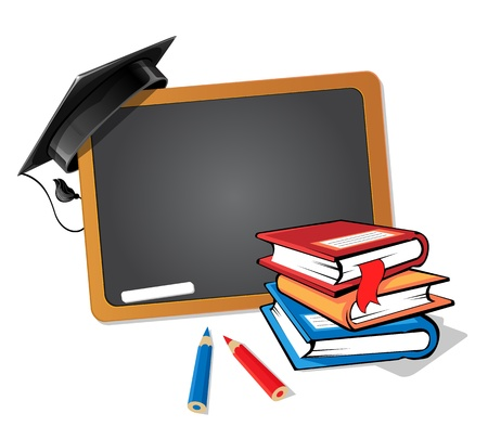 Illustration pour Stack of books with a blackboard and a graduation hat background - image libre de droit