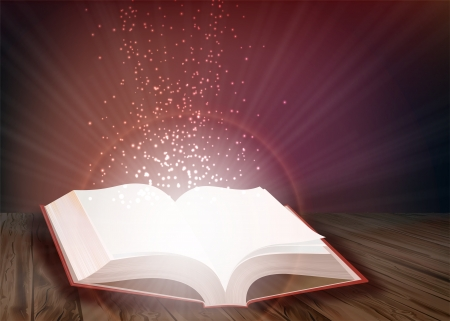 Open book that emits bright light of knowledge