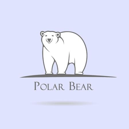 Ilustración de Big stylized polar bear on a blue background - Imagen libre de derechos