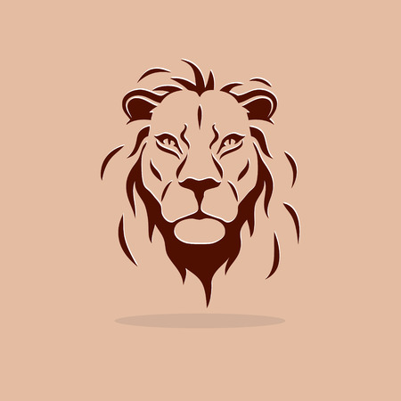 Ilustración de Big stylized lion head on a orange background - Imagen libre de derechos
