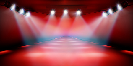 Illustration pour Stage podium during the show. Red background. Fashion runway. Vector illustration. - image libre de droit