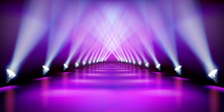 Illustration pour Stage podium during the show. Purple carpet. Fashion runway. Vector illustration. - image libre de droit