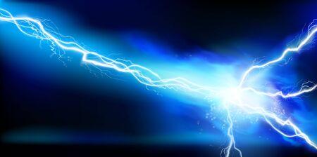 Illustration pour Large electrical discharge. Electrical energy. Heat lighting. Light effects. Vector illustration. - image libre de droit