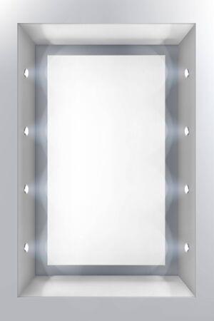 Illustration pour Illuminated shop window with spotlights. Place for the exhibition. White background. Vector illustration. - image libre de droit