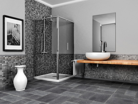 large bathroom with stone and mosaic grey tone