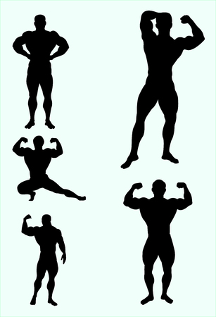 Body builder gesture silhouette. Good use for symbol.
