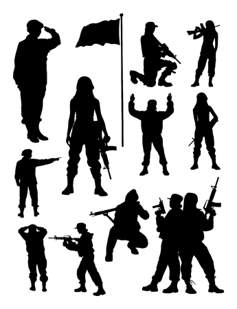 Ilustración de Female soldier silhouette. Good use for symbol, logo, web icon, mascot, sign, or any design you want. - Imagen libre de derechos