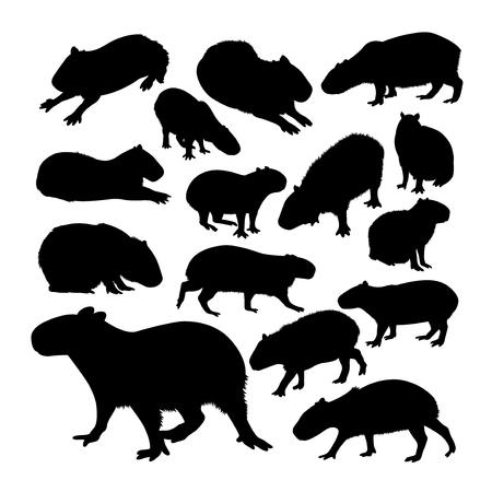 Illustration pour Capybara animal silhouettes. Good use for symbol, logo, web icon, mascot, sign, or any design you want. - image libre de droit
