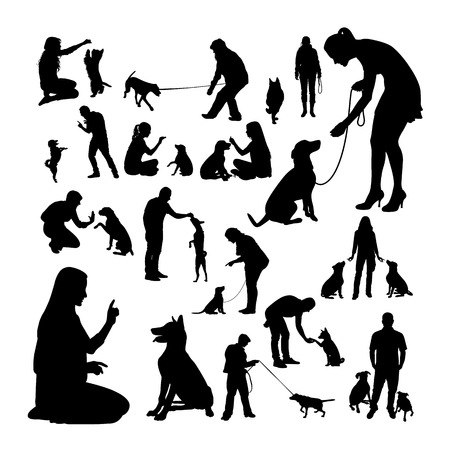 Illustration for Dog trainer silhouettes. Good use for symbol, logo, web icon, mascot, sign, or any design you want. - Royalty Free Image