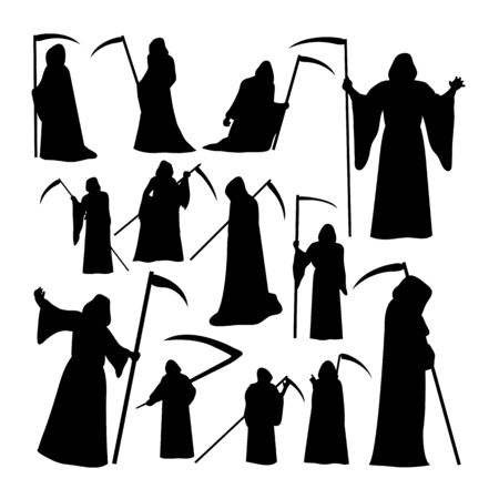 Illustration pour Grim reaper silhouettes. Good use for symbol, logo, web icon, mascot, sign, or any design you want. - image libre de droit