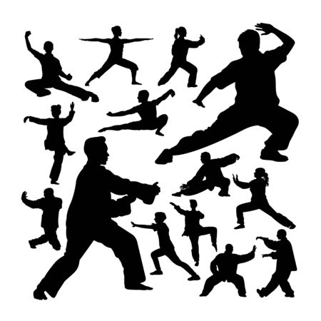Illustration for Tai chi silhouettes. Good use for symbol, logo, web icon, mascot, sign, or any design you want. - Royalty Free Image