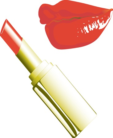 Vector illustration of Lipstick and lips