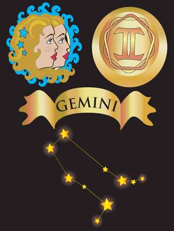Vector illustration for zodiac sign Gemini