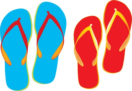 blue and red Flip flops isolated on a white background