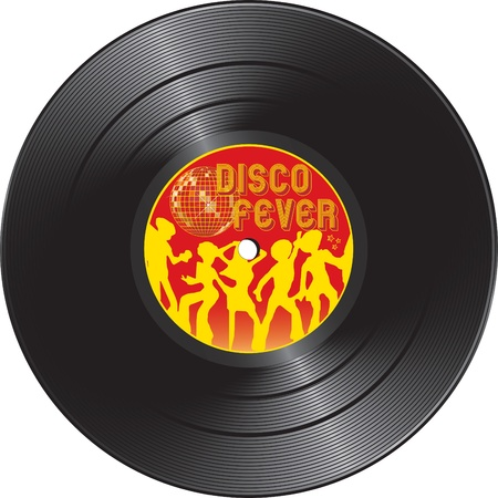illustration for Vinyl record with disco fever isolated on a white background