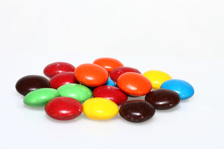 Group of colored chocolate candies