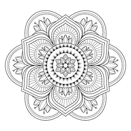 Illustration pour Mandala isolated on the white background. Template for coloring book page. Oriental mystical pattern. Yoga mandala. Stock vector illustration - image libre de droit
