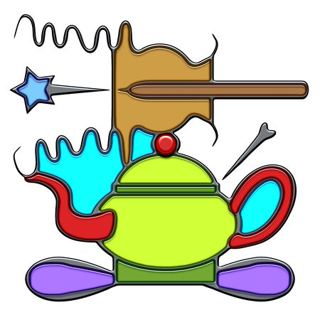 Art, the word art shaped like pictographic complex composition. An oar with waves on a teapot with knot.