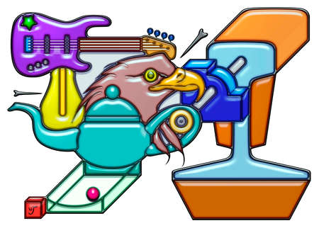 The word manager pictographic complex shaped like composition. An electric guitar with light bulb over a head of eagle and teapot Together with quarter round and rail.
