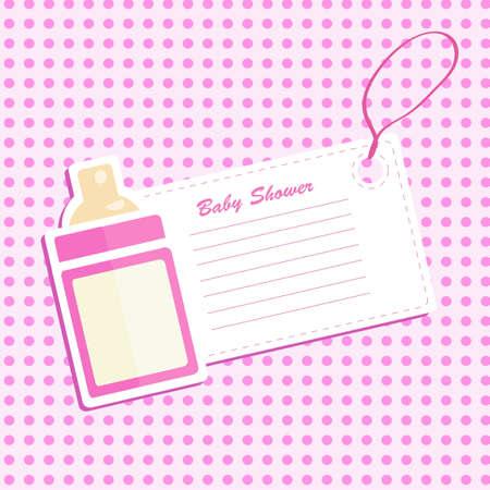 Illustration pour Baby bottle shower. Invitation card . - image libre de droit