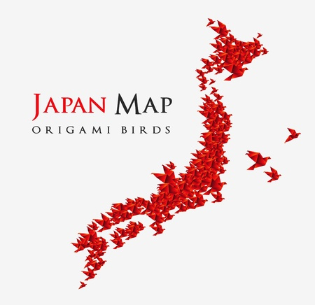 japan map shaped from origami birds
