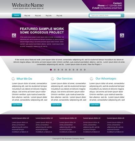 website template design - metallic, purple colors