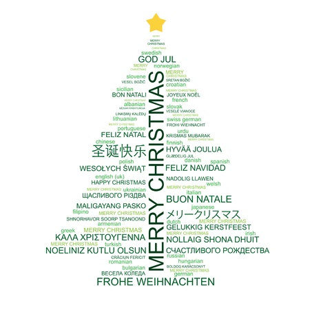 Merry Christmas Different Languages.Christmas Tree Shaped From Letters Merry Christmas In
