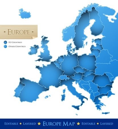 European Union vector map - blue Europe map isolated on white background - all countries are separated by stroke boundaries