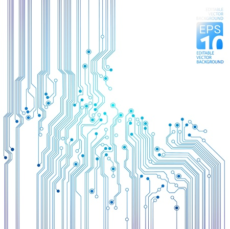 Ilustración de abstract technology background - blue circuit board texture isolated on white background - Imagen libre de derechos