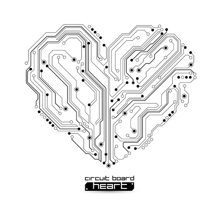 heart shape technology background - vector illustration