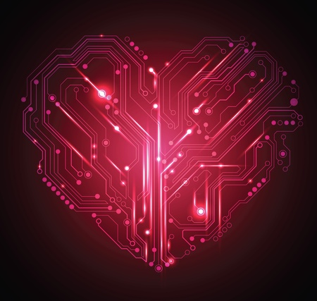 circuit board heart abstract red background - creative idea vector